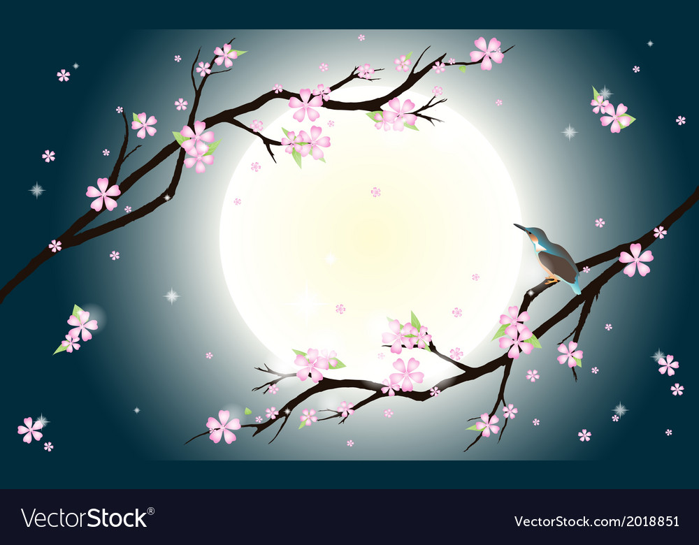 Background with stylized cherry blossom and bird vector | Price: 1 Credit (USD $1)