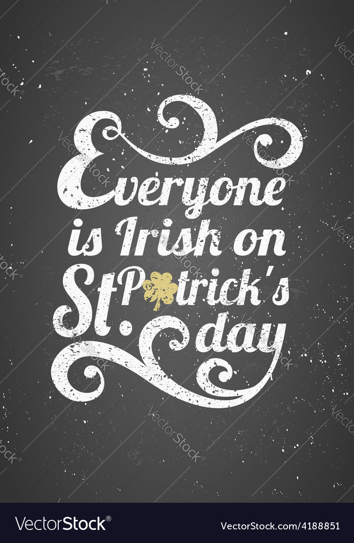Chalkboard style st patricks day greeting card vector | Price: 1 Credit (USD $1)