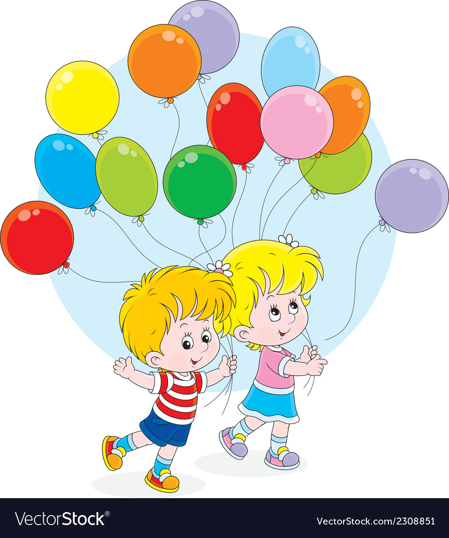 Children with colorful balloons vector | Price: 1 Credit (USD $1)