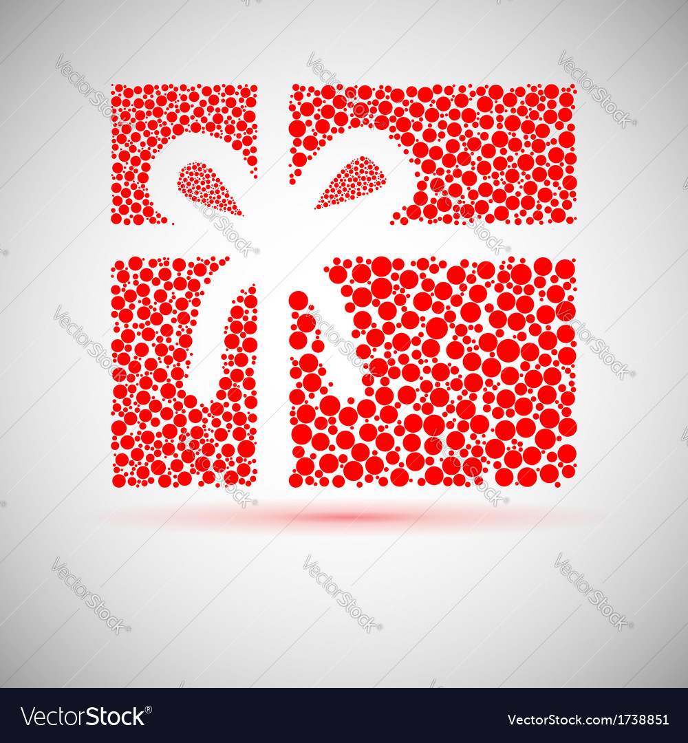 Christmas card gift box with ribbon vector | Price: 1 Credit (USD $1)