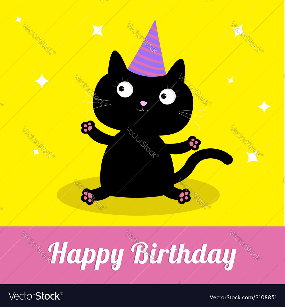 Cute cartoon black cat with hat card vector | Price: 1 Credit (USD $1)