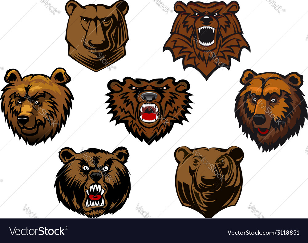 Different brown bear heads vector | Price: 1 Credit (USD $1)
