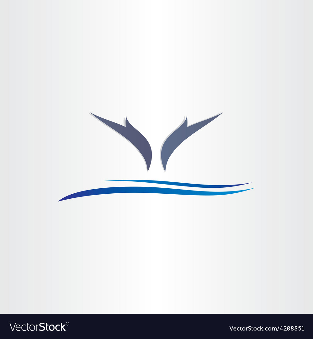 Dolphins jump in water icon design vector | Price: 1 Credit (USD $1)