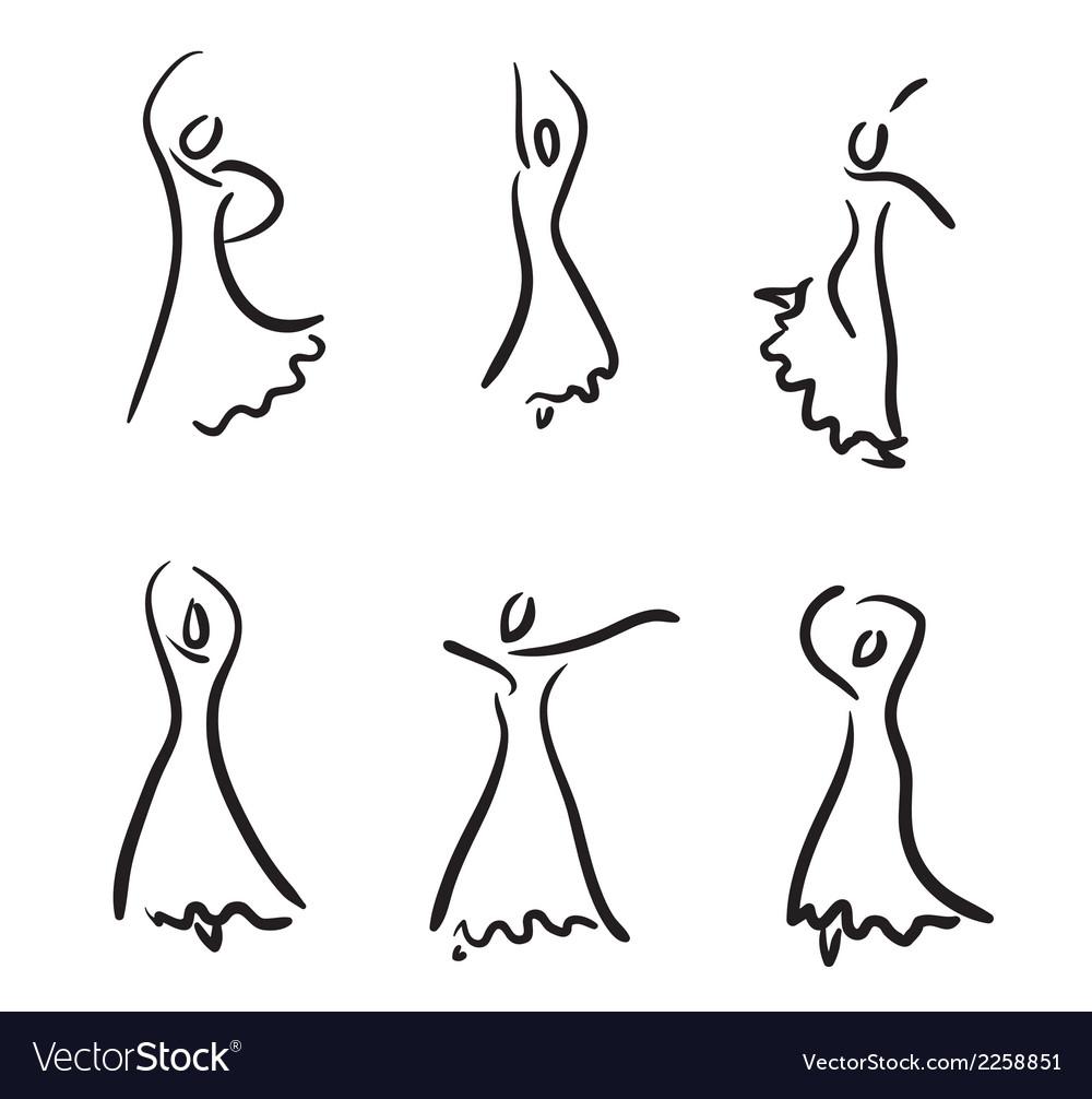 Flamenco dancer sketch set vector | Price: 1 Credit (USD $1)