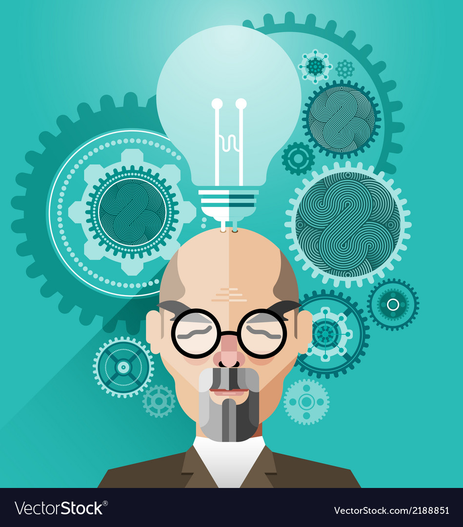 Head with creative brain idea concept vector | Price: 1 Credit (USD $1)