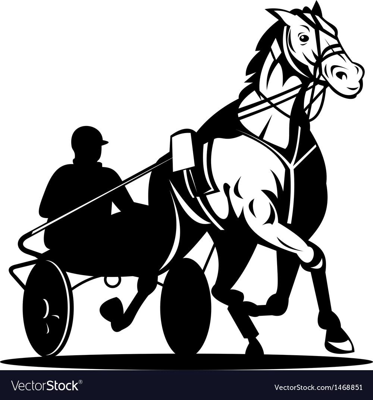 Horse and jockey harness racing vector | Price: 1 Credit (USD $1)