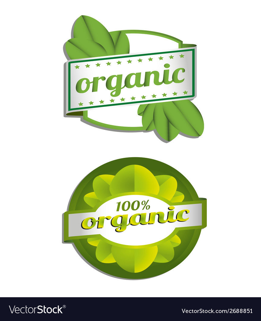 Hundred percent organic label vector | Price: 1 Credit (USD $1)