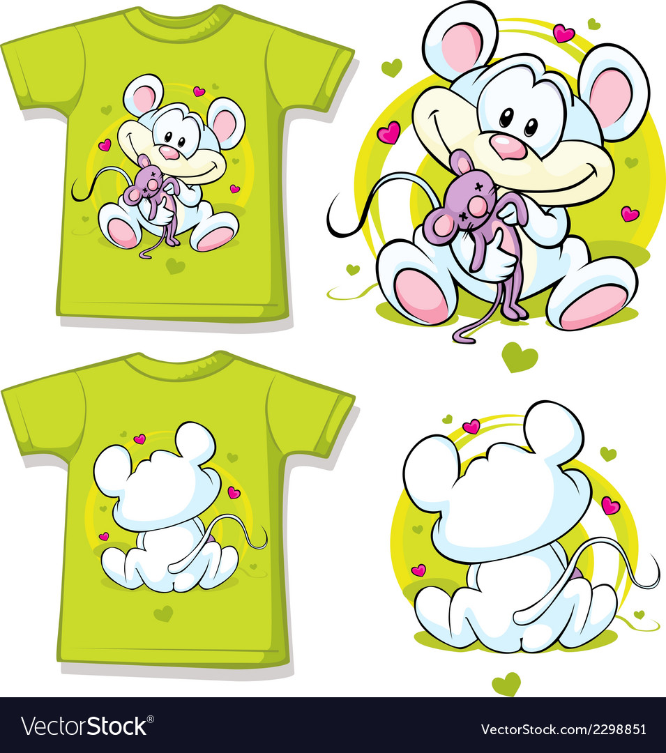 Kid shirt with cute mouse printed vector | Price: 1 Credit (USD $1)