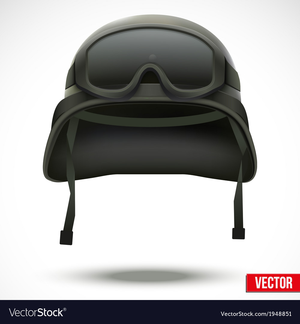 Military green helmet and goggles vector   Price: 1 Credit (USD $1)