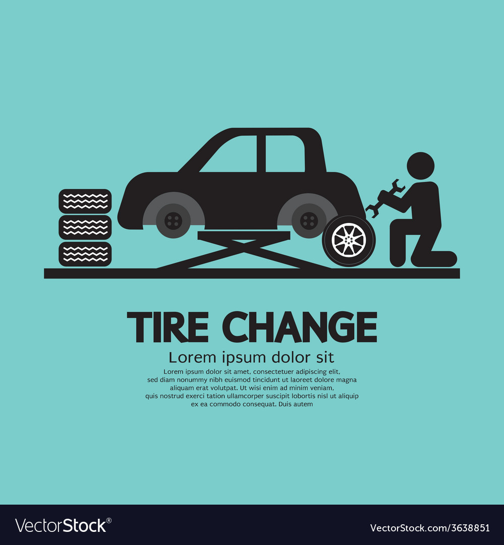 Person changing automobil wheel tire graphic vector | Price: 1 Credit (USD $1)