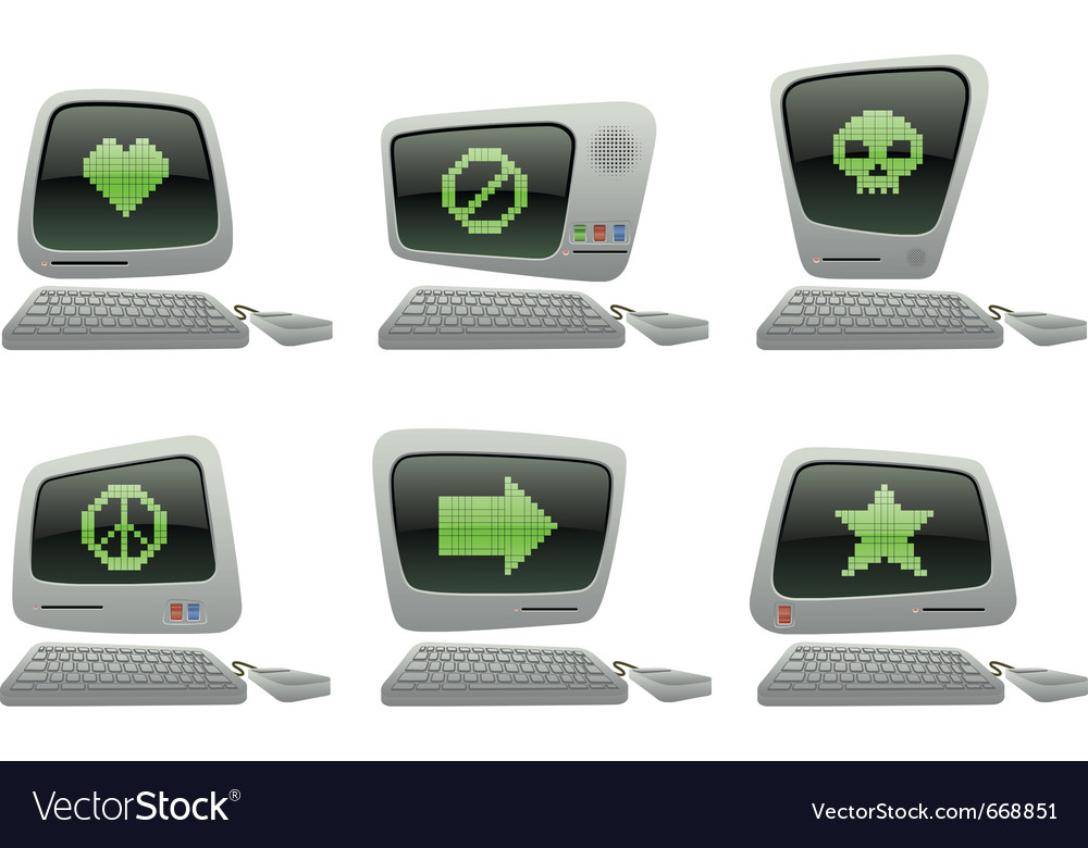 Retro computer icon set with random symbols vector | Price: 3 Credit (USD $3)