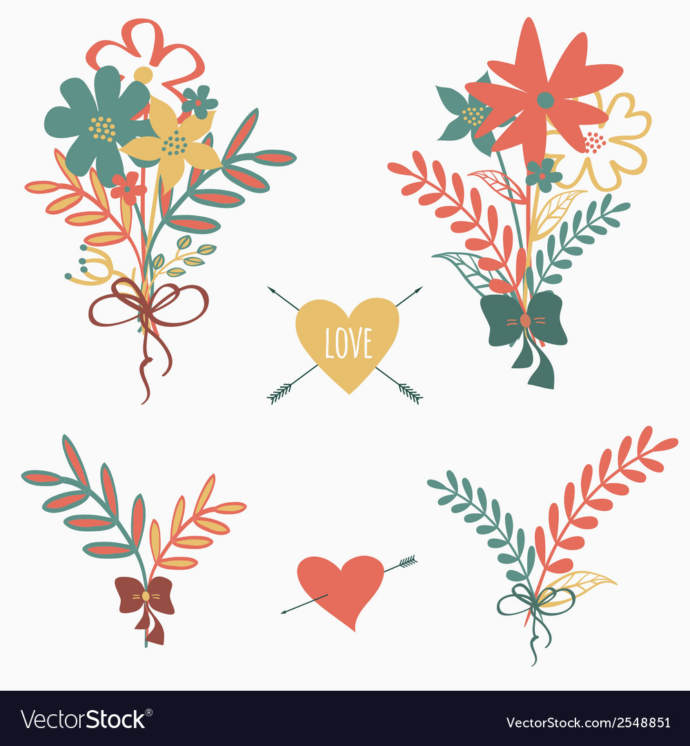 Set of cute retro floral bouquets vector | Price: 1 Credit (USD $1)