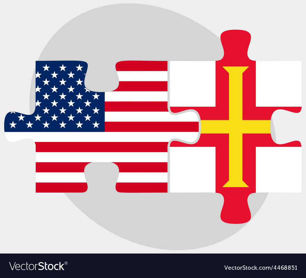 Usa and guernsey flags in puzzle vector | Price: 1 Credit (USD $1)