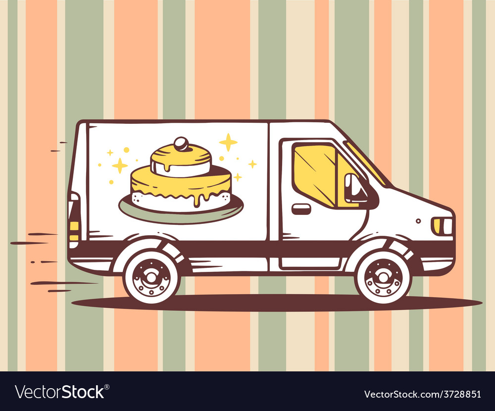 Van free and fast delivering cake to cust vector | Price: 1 Credit (USD $1)