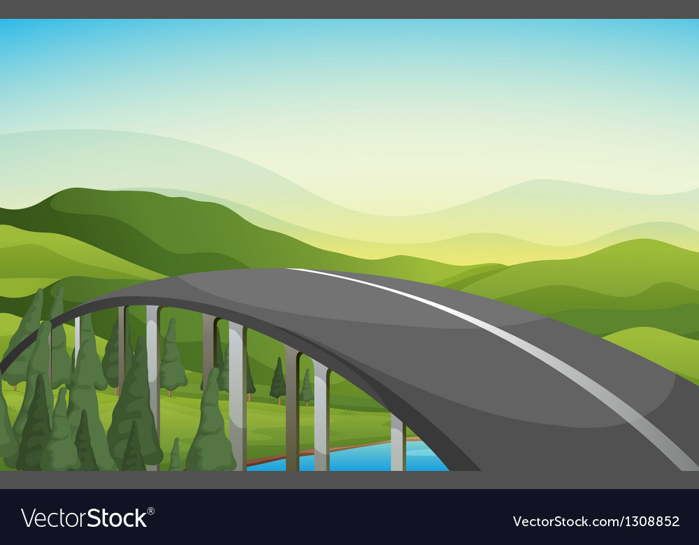 A curve road with pine trees vector | Price: 1 Credit (USD $1)