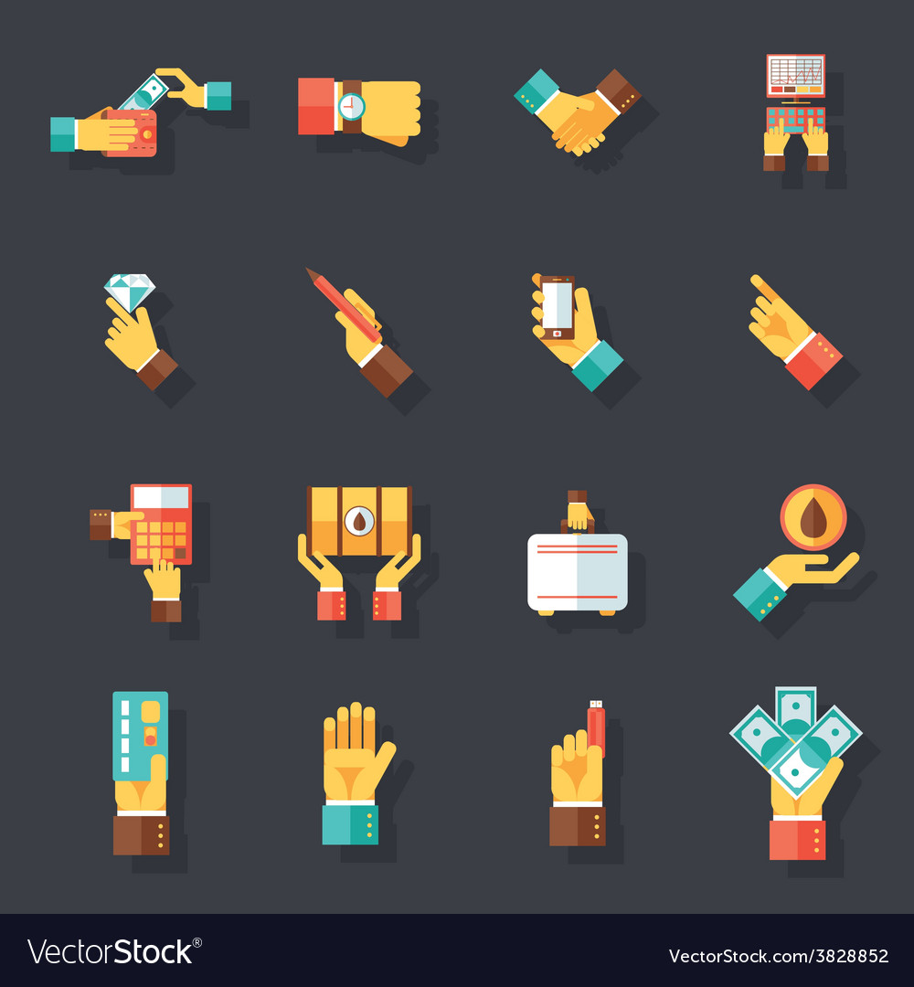 Business hands symbols finance accessories icons vector   Price: 1 Credit (USD $1)