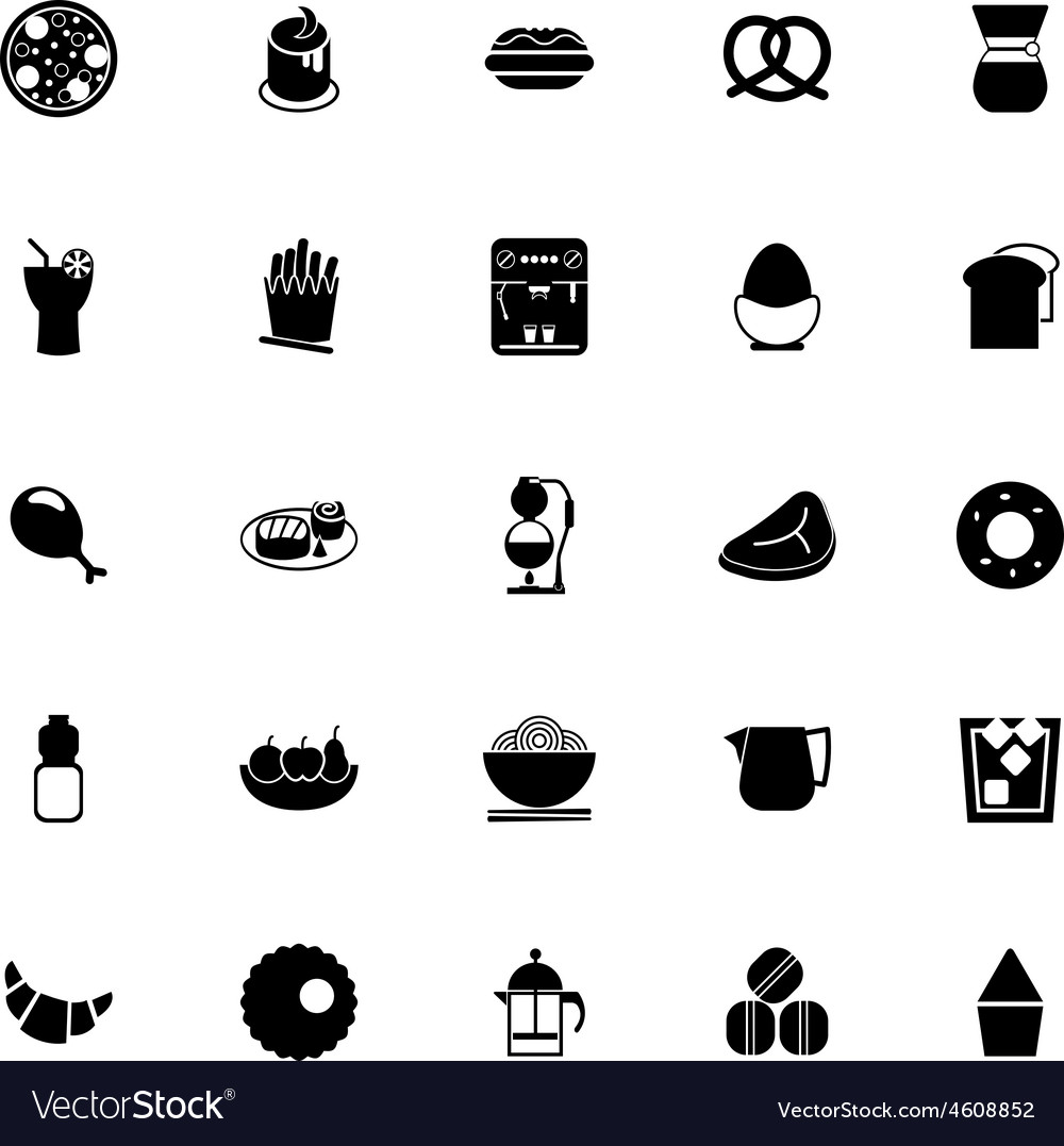 Easy meal icons on white background vector | Price: 1 Credit (USD $1)