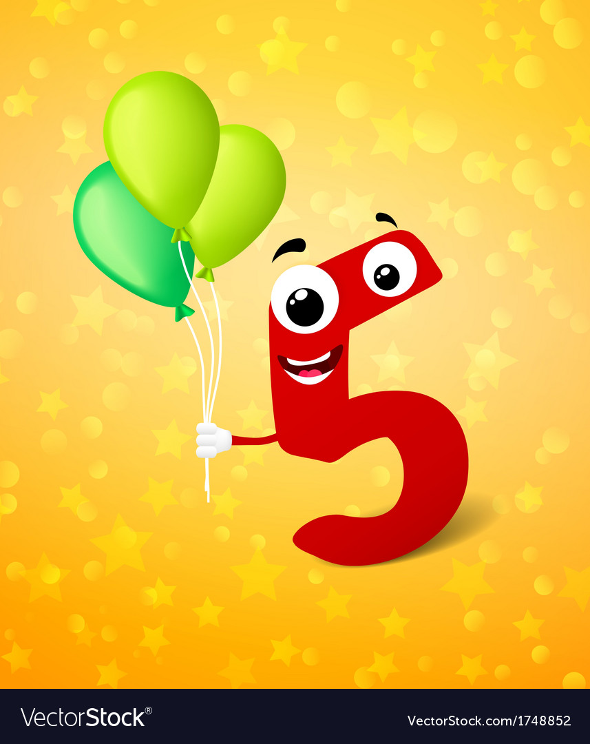 Fifth birthday greeting card vector   Price: 1 Credit (USD $1)