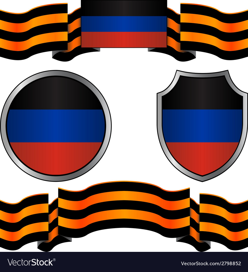 Flag of donetsk republic and georgievsky ribbon vector | Price: 1 Credit (USD $1)