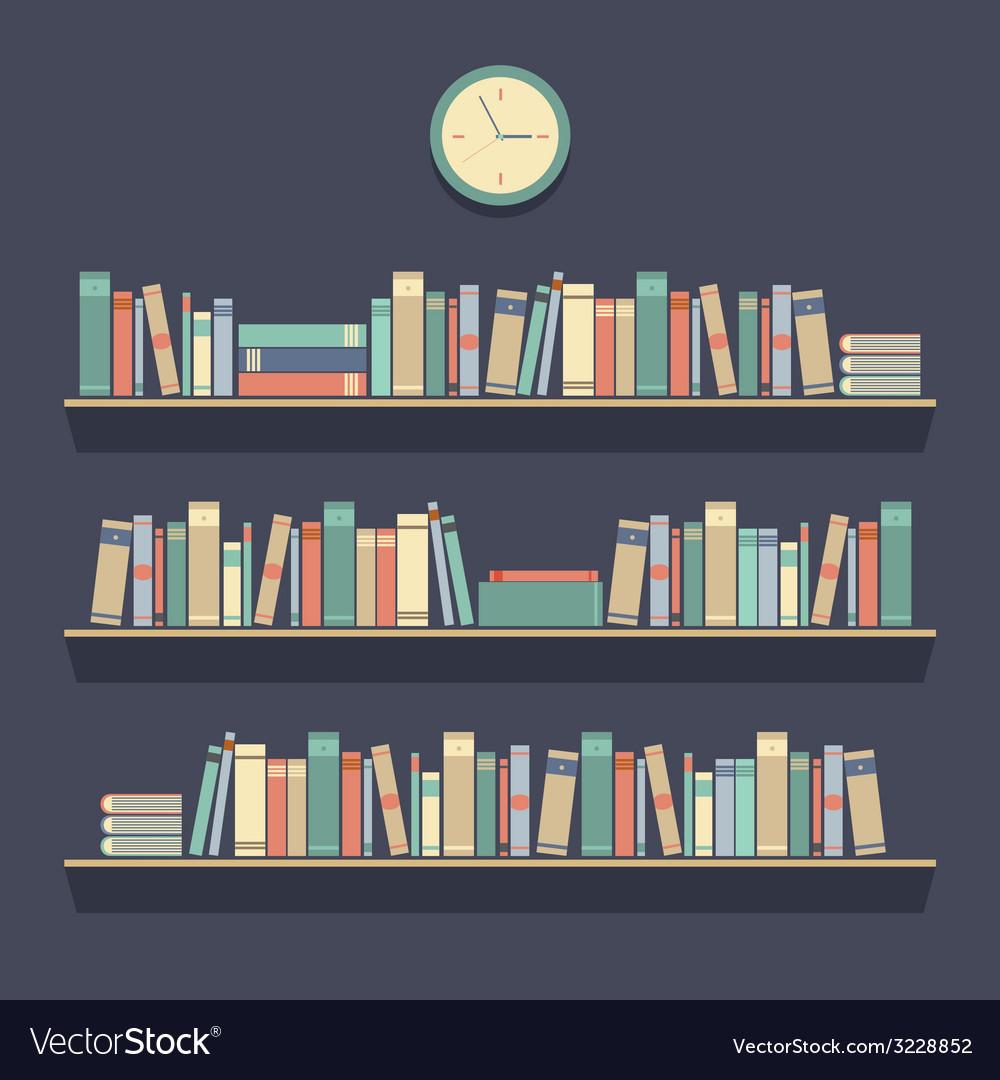 Flat design bookshelves vector | Price: 1 Credit (USD $1)