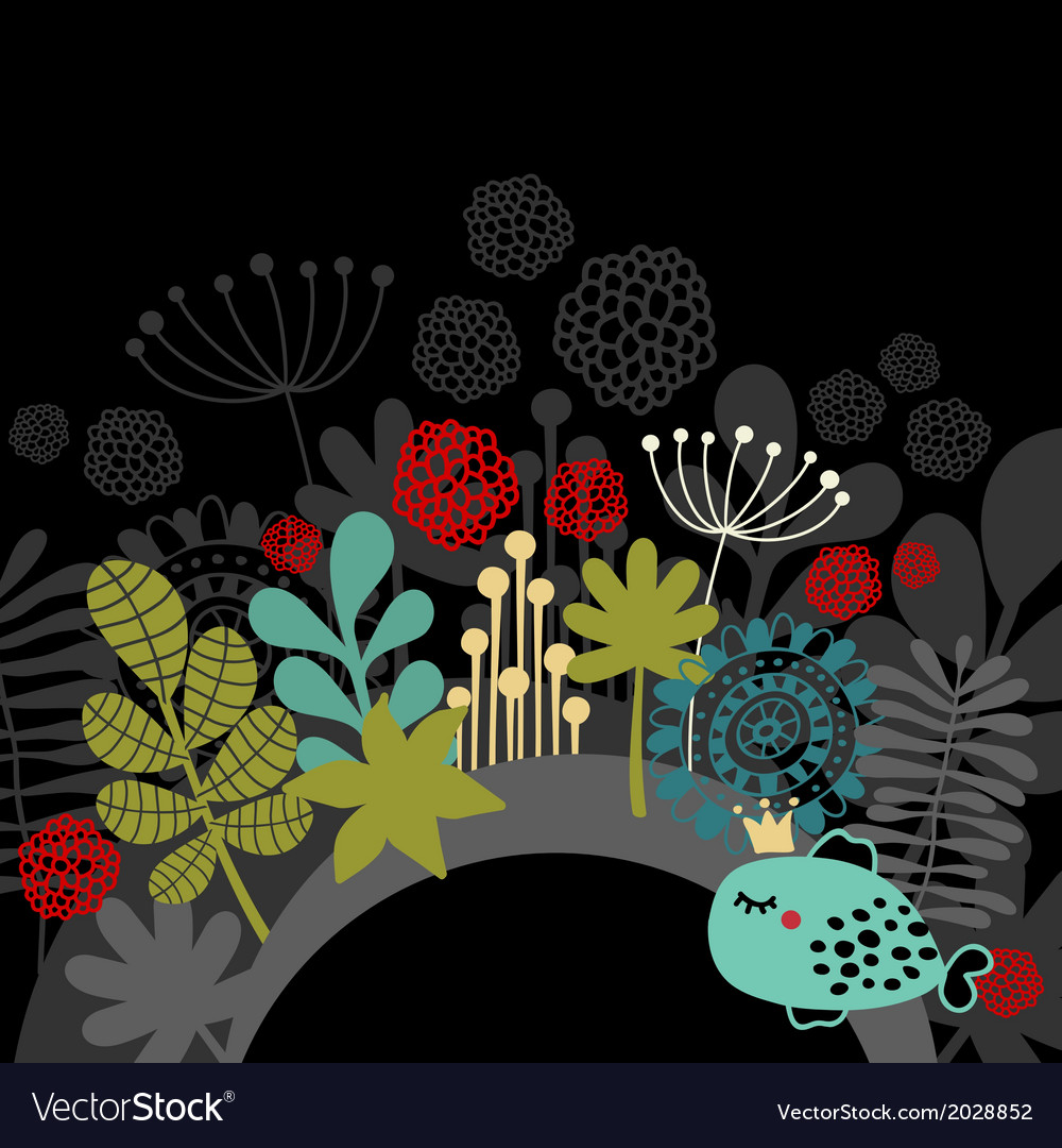 Half part round banner with fantastic flora vector | Price: 1 Credit (USD $1)