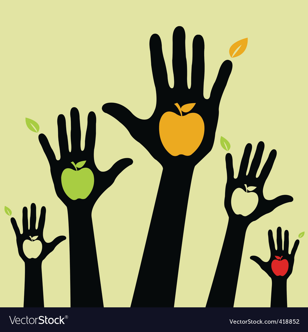 Healthy apple hands vector | Price: 1 Credit (USD $1)