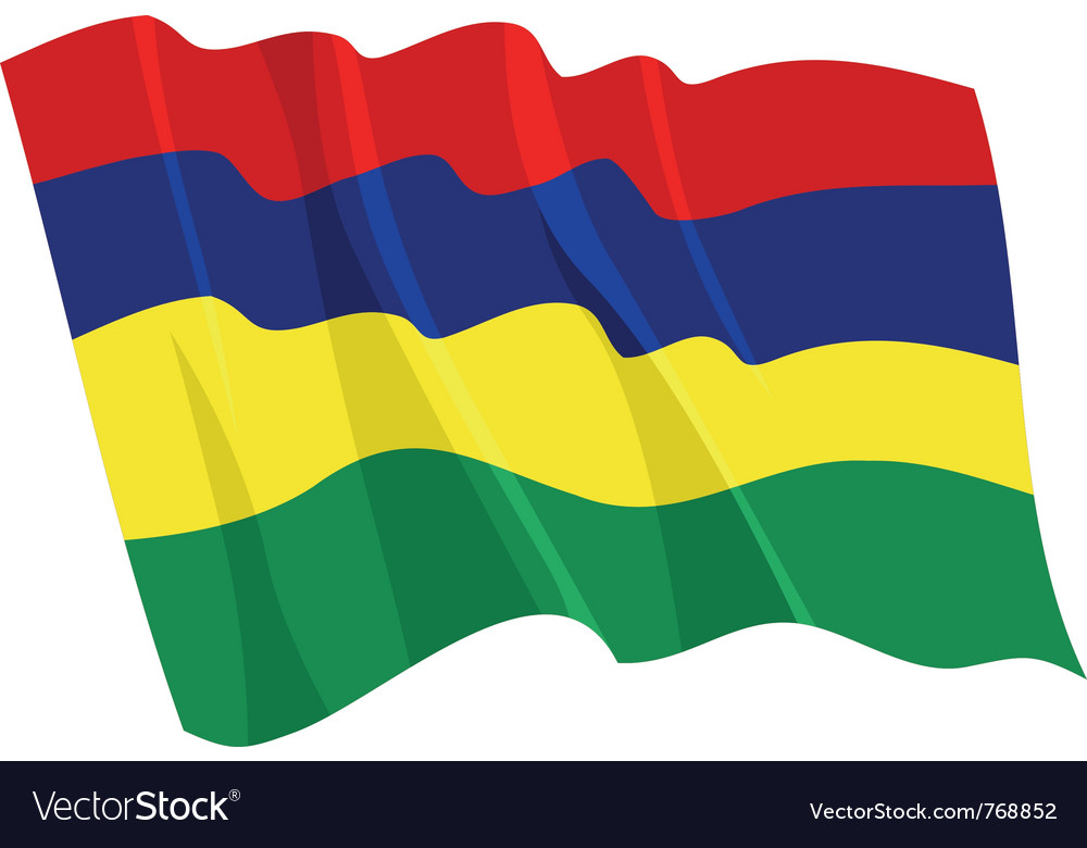 Political waving flag of mauritius vector | Price: 1 Credit (USD $1)