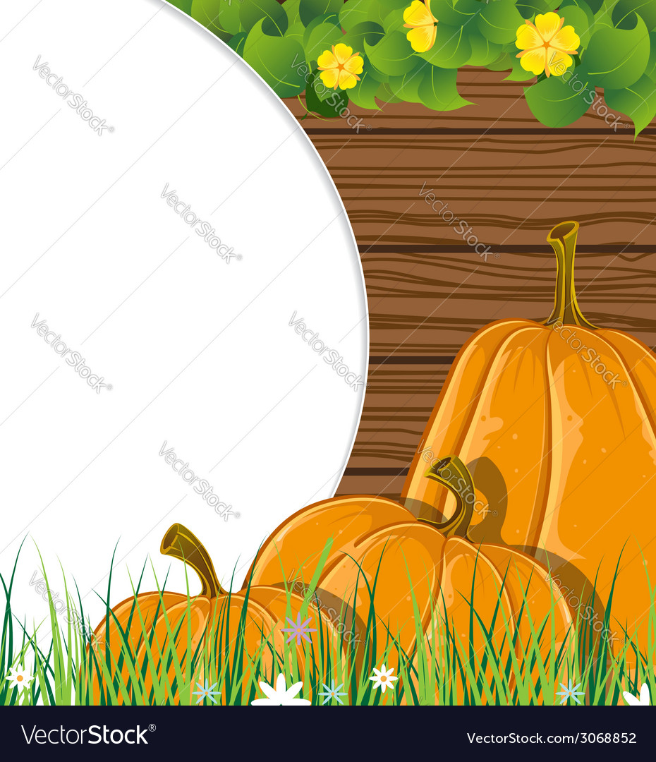 Pumpkins on the wooden background vector | Price: 1 Credit (USD $1)