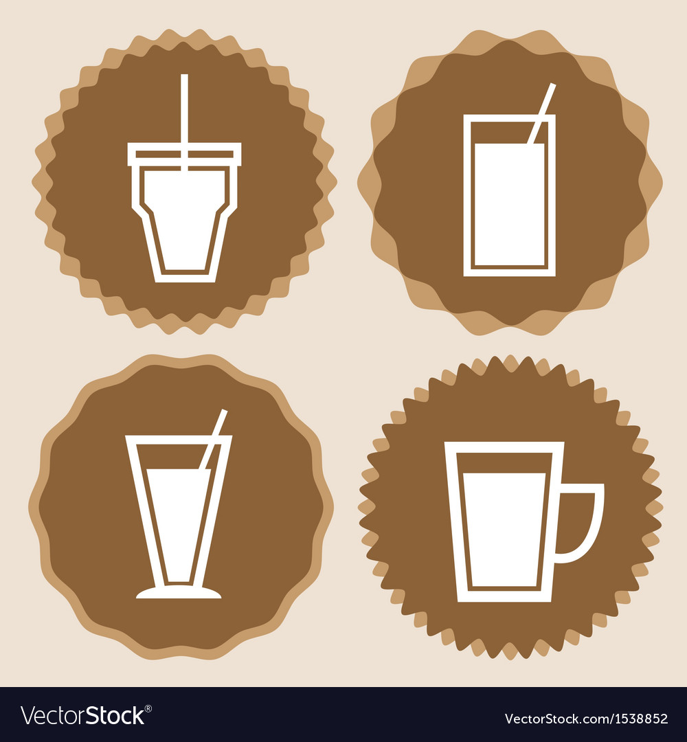 Set of coffee cup icon badges vector | Price: 1 Credit (USD $1)