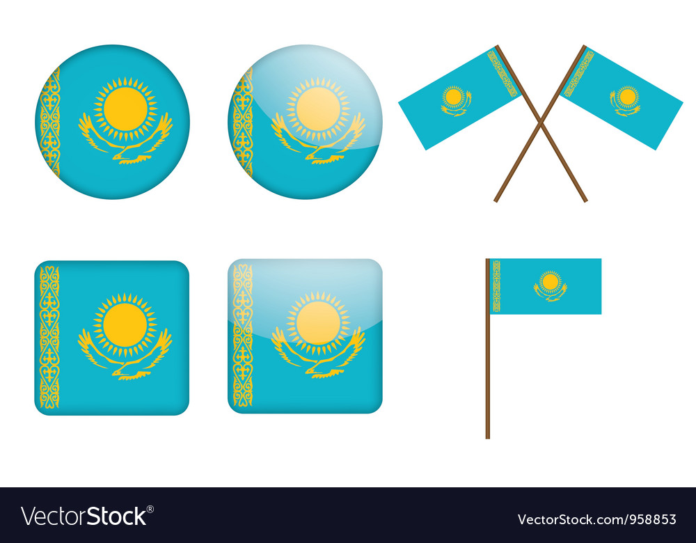 Badges with flag of kazakhstan vector | Price: 1 Credit (USD $1)
