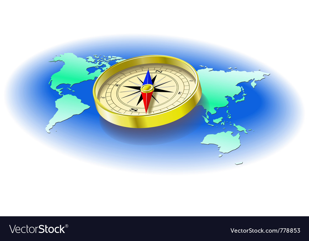 Compass world map vector | Price: 3 Credit (USD $3)