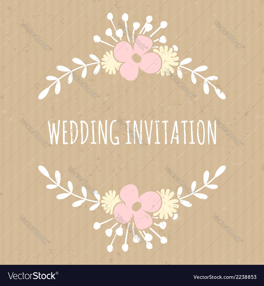 Flowers and laurels romantic wedding design card vector