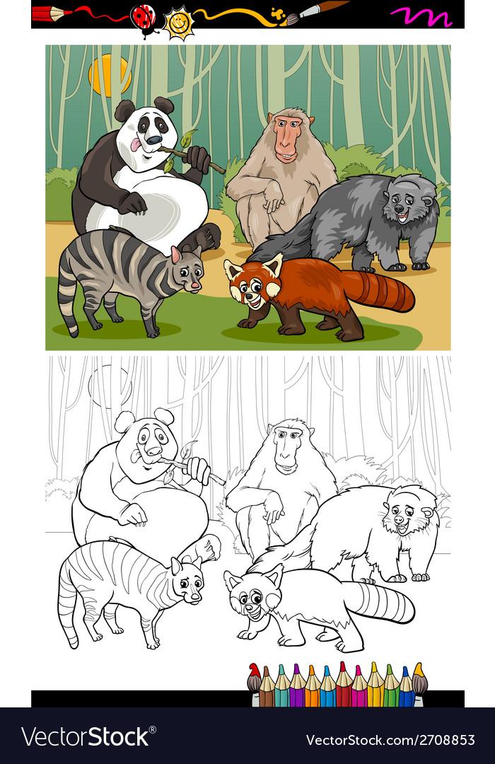 Funny animals cartoon coloring book vector   Price: 1 Credit (USD $1)