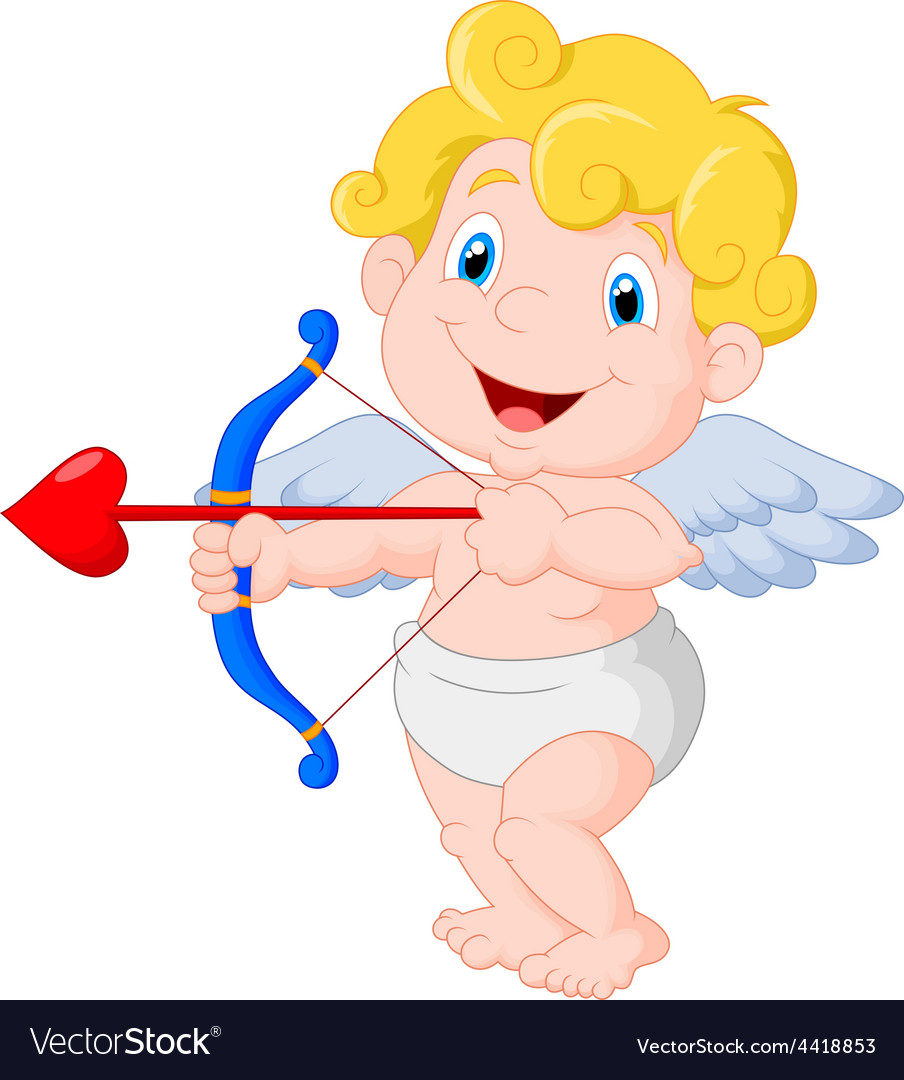 Funny little cupid aiming at someone vector | Price: 1 Credit (USD $1)