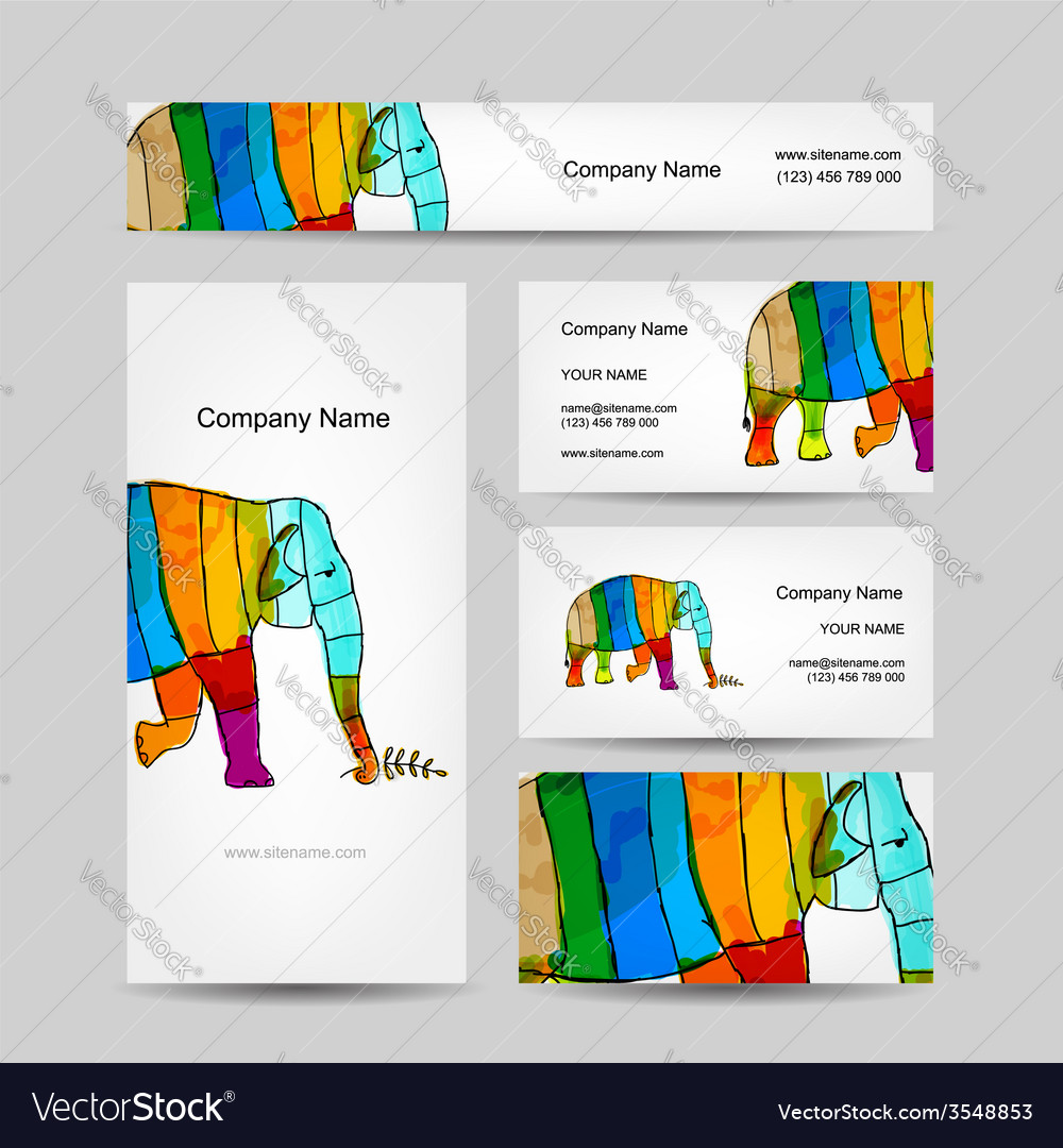 Funny striped elephant business card for your vector   Price: 1 Credit (USD $1)