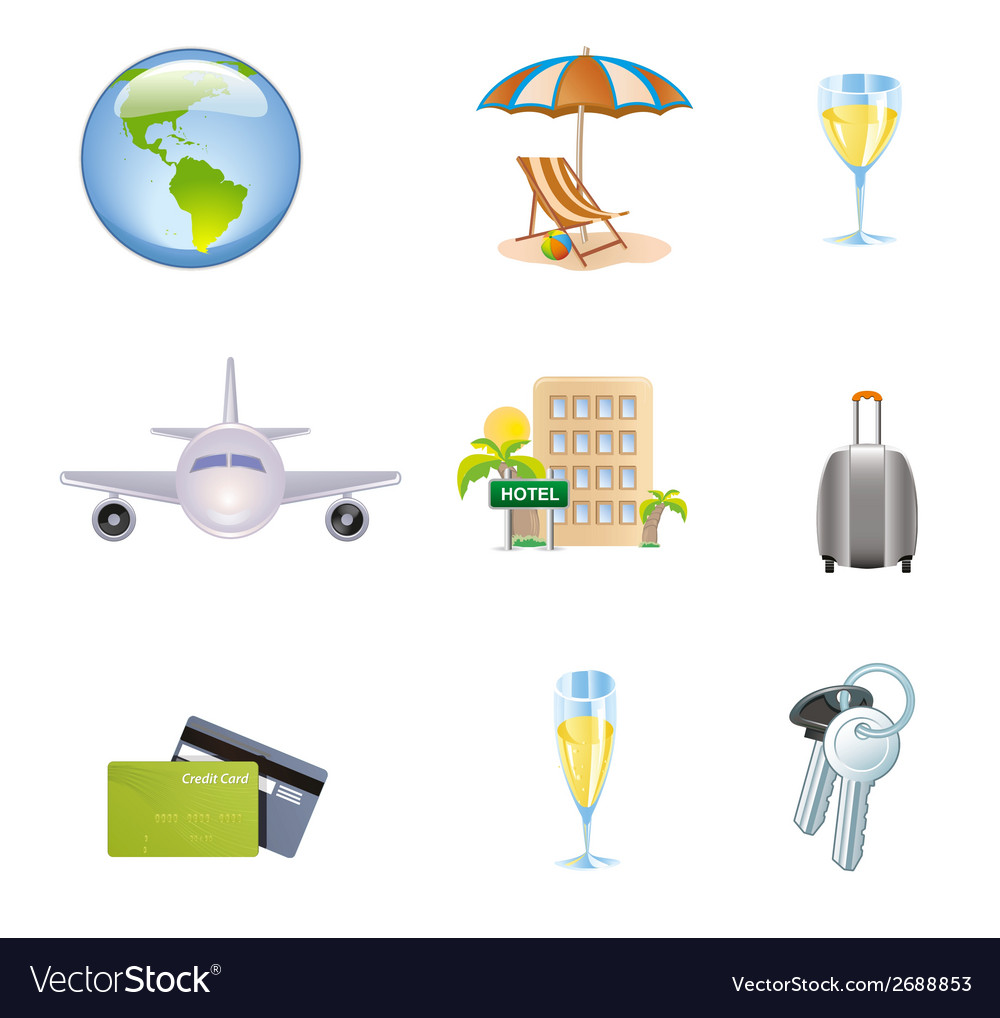 Icons set of traveling tourism and journey object vector | Price: 1 Credit (USD $1)