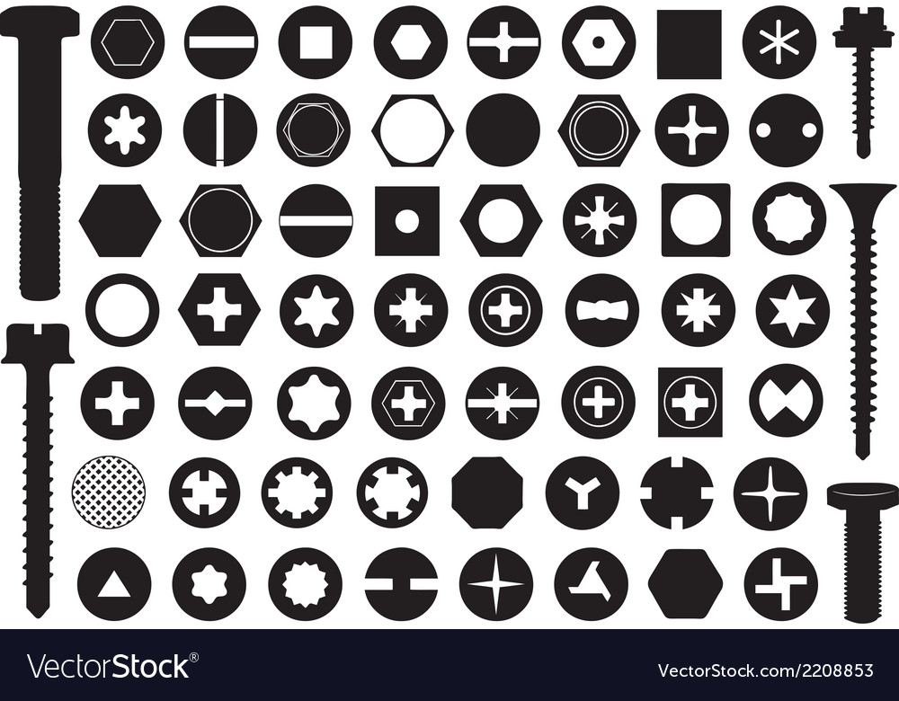 Screw heads set vector | Price: 1 Credit (USD $1)