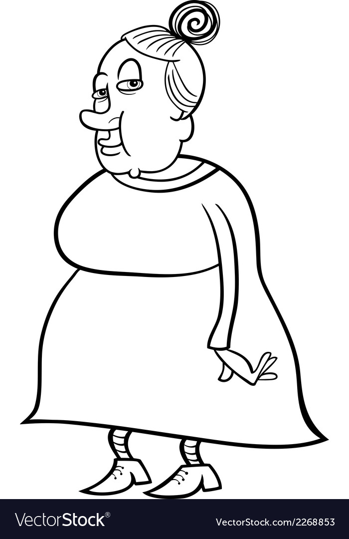 Senior grandmother coloring book vector | Price: 1 Credit (USD $1)
