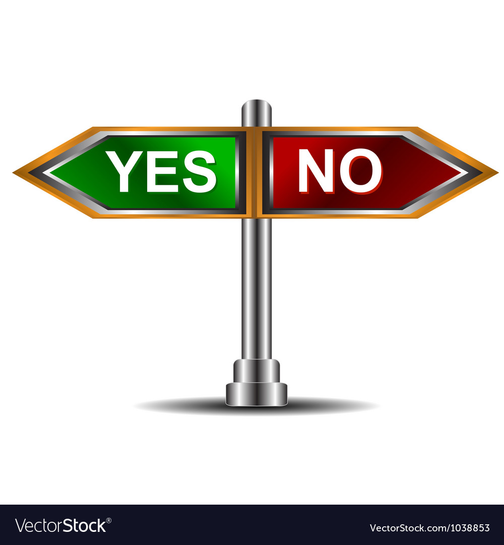 Sign yes and no vector | Price: 1 Credit (USD $1)