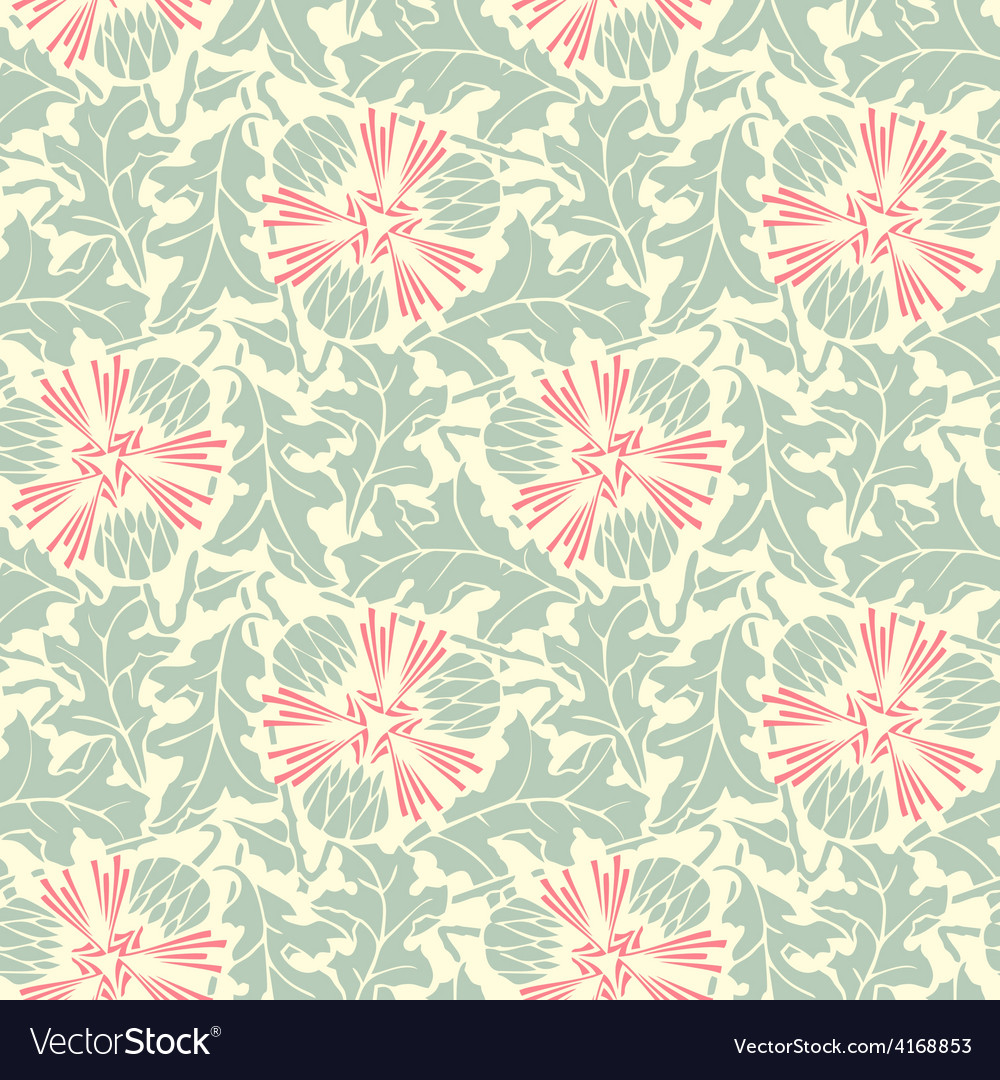 Turquoise floral seamless pattern vector | Price: 1 Credit (USD $1)
