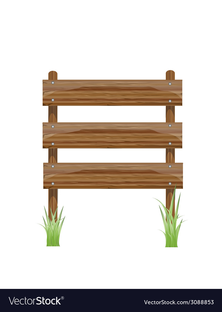 Wooden sign on a grass vector