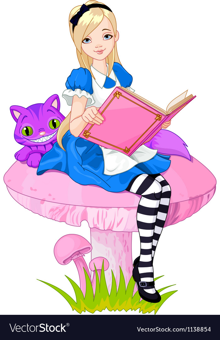 Alice holding book vector | Price: 3 Credit (USD $3)
