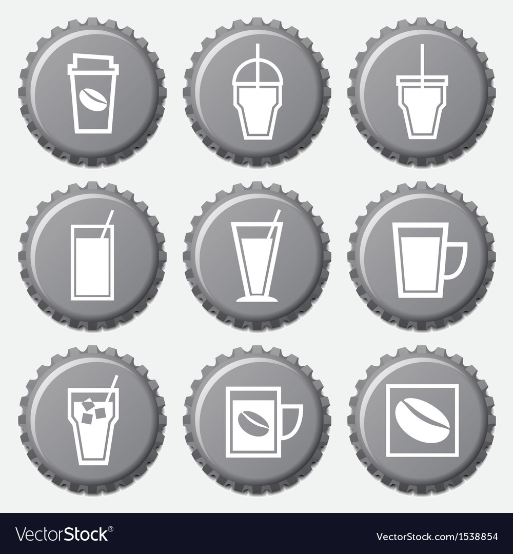 Coffee cup icon on bottle caps set vector | Price: 1 Credit (USD $1)
