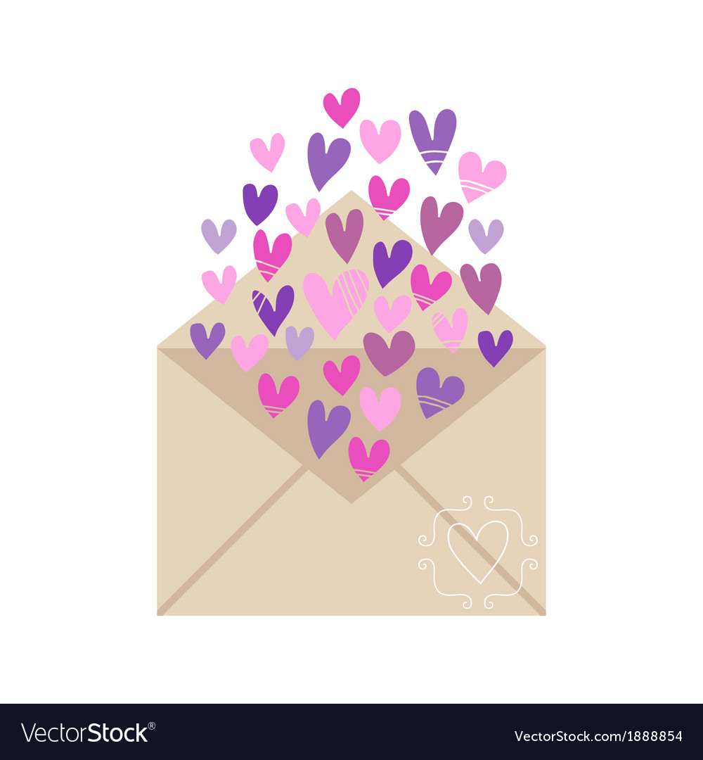 Envelope with hearts isolated on white background vector | Price: 1 Credit (USD $1)