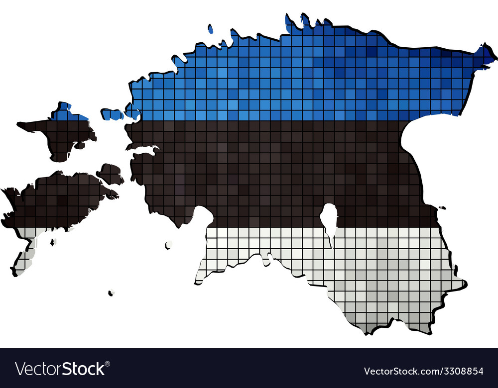 Estonia map with flag inside vector | Price: 1 Credit (USD $1)