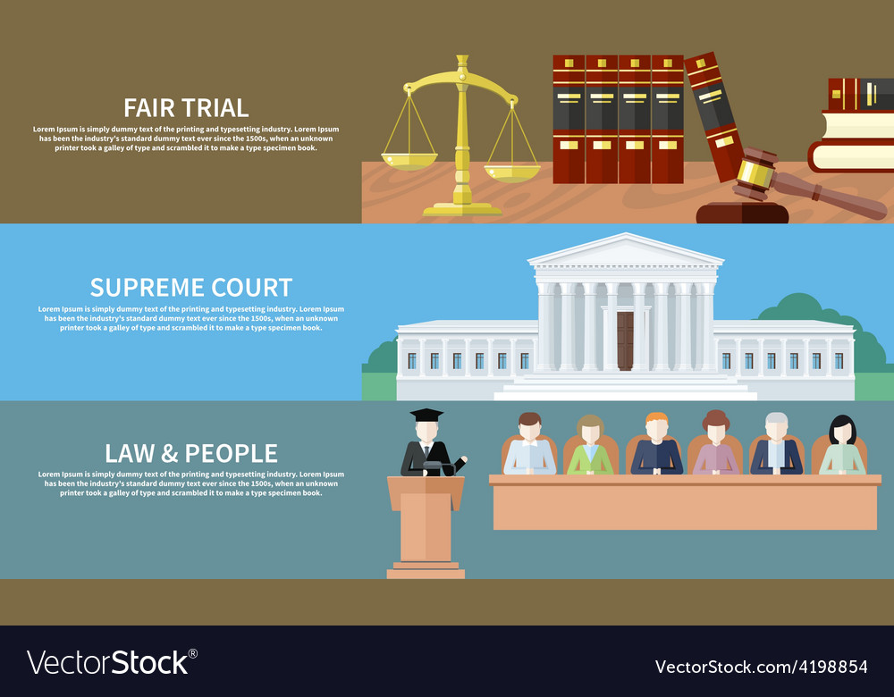 Fair trial supreme court law and people vector | Price: 1 Credit (USD $1)