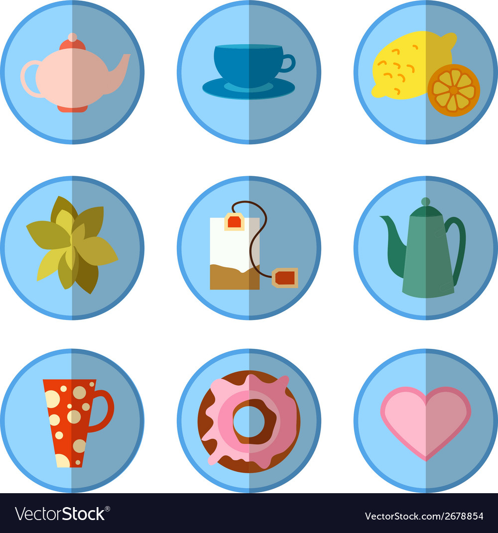 Icon set with tea in flat style vector | Price: 1 Credit (USD $1)