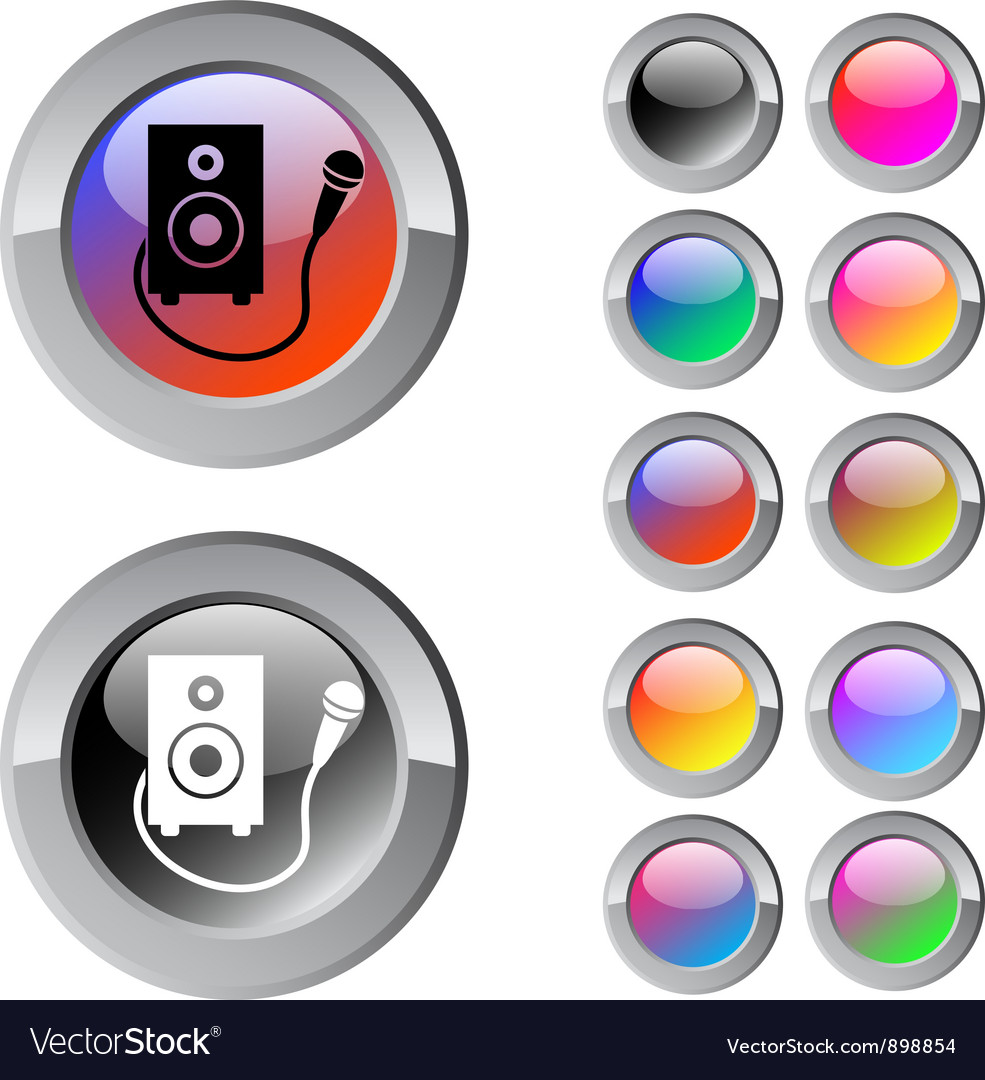 Karaoke multicolor round button vector | Price: 1 Credit (USD $1)