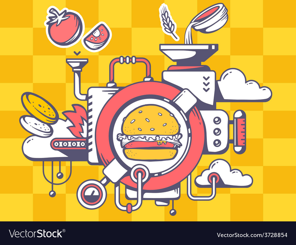Mechanism to make big burger and eatable vector | Price: 1 Credit (USD $1)
