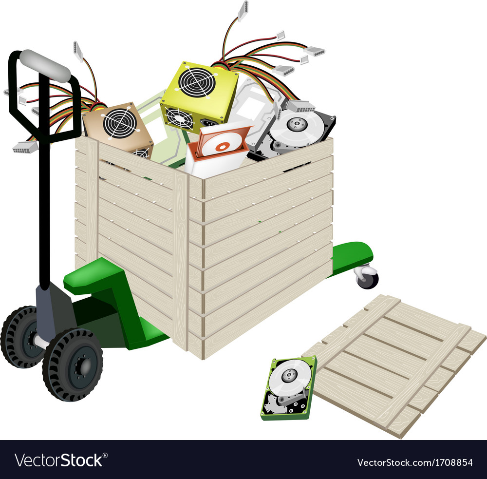 Pallet truck loading hardware computer in shipping vector | Price: 1 Credit (USD $1)